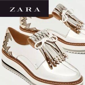 Zara Silver Platform Brogues Fringe Size 9 EUR 39